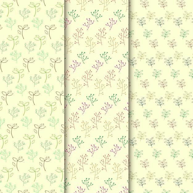 Conjunto de padrão de ramo simples doodle Vetor Premium