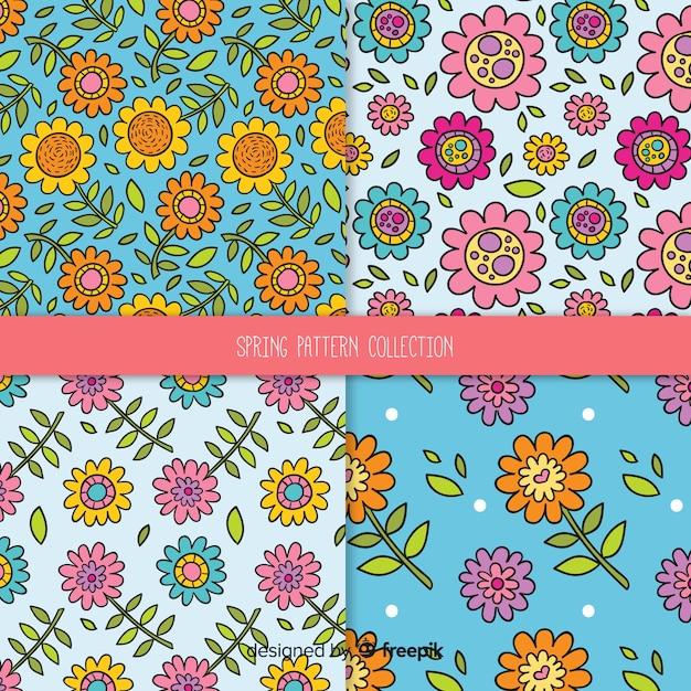 Conjunto de padrão floral de primavera dos desenhos animados Vetor grátis