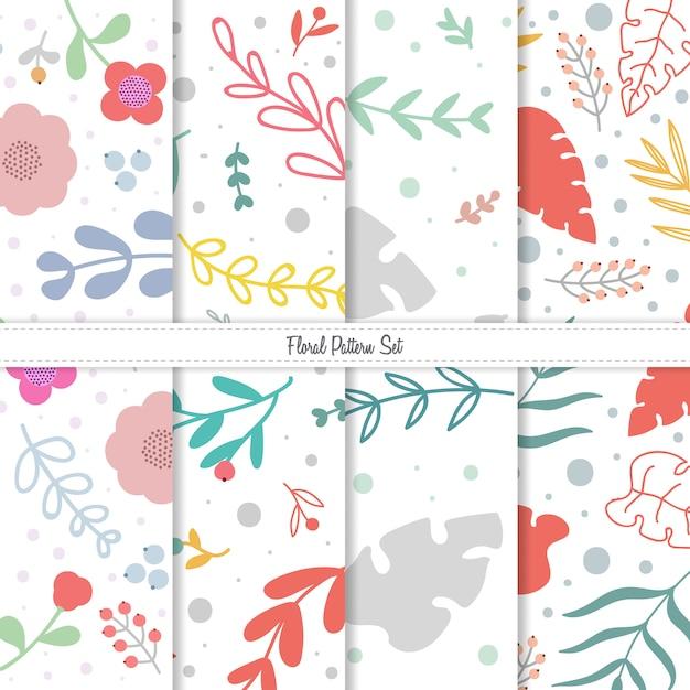 Conjunto de padrão floral primavera verão Vetor Premium