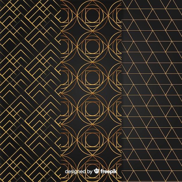 Conjunto de padrão geométrico de luxo Vetor grátis
