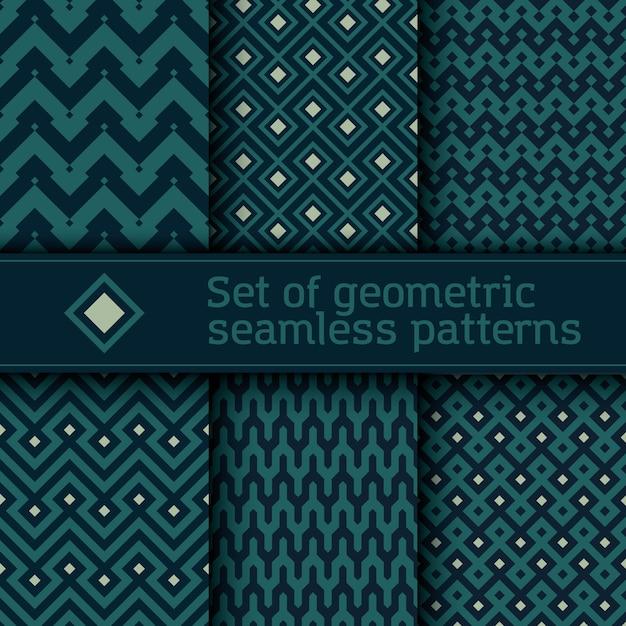 Conjunto de padrão geométrico vetorial sem emenda Vetor Premium
