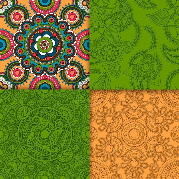 Conjunto de padrão indiano bege e verde Vetor Premium