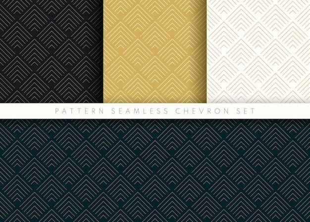 Conjunto de padrão sem emenda chevron onda abstrata fundo listra ouro luxo cor e linha. Vetor Premium