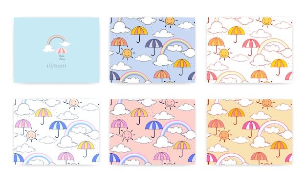 Conjunto de padrão sem emenda com arco-íris fofo e guarda-chuva. ilustração vetorial Vetor Premium