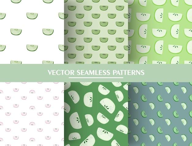 Conjunto de padrão sem emenda com ornamento de fatias de maçã do doodle. coleção de padrão de fatia de maçã verde. Vetor Premium