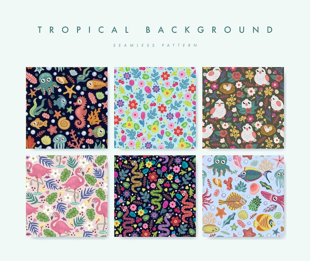 Conjunto de padrão sem emenda com pássaros tropicais, flores e peixes Vetor Premium