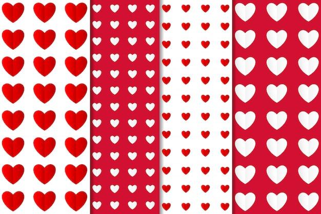 Conjunto de padrão sem emenda de coração abstrato Vetor Premium
