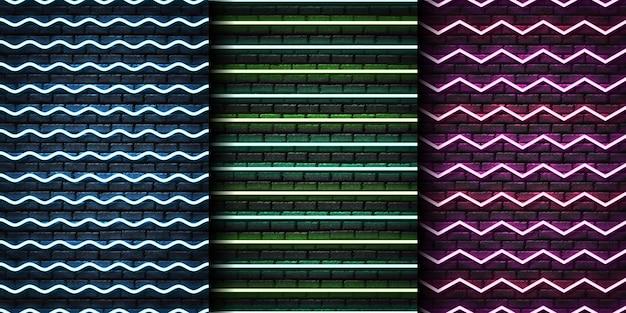 Conjunto de padrão sem emenda de néon realista com zigue-zague para modelo e layout na parede perfeita. Vetor Premium