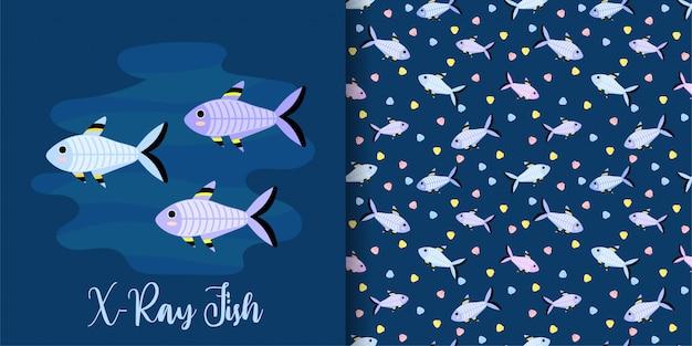 Conjunto de padrão sem emenda de peixe de raio-x dos desenhos animados Vetor Premium