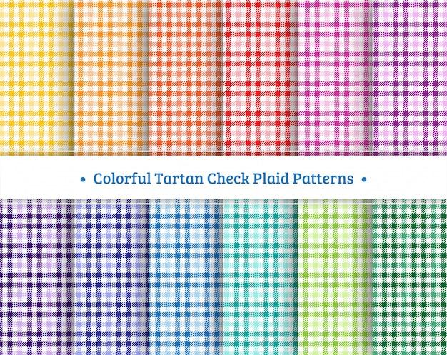 Conjunto de padrão sem emenda de xadrez tartan colorido Vetor Premium