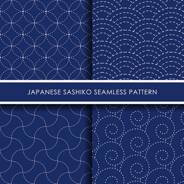 Conjunto de padrão sem emenda sashiko japonês Vetor Premium