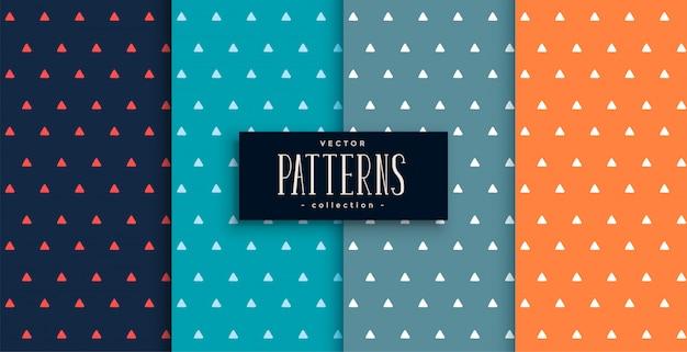 Conjunto de padrões bonitos triângulos pequenos em quatro cores Vetor grátis