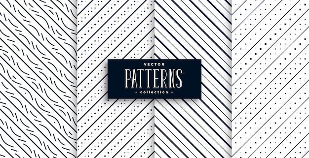 Conjunto de padrões clássicos de linhas diagonais abstratas de quatro Vetor grátis