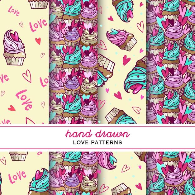 Conjunto de padrões de amor. mão desenhada amor bolos com creme e coração. doodle bolo de creme. doce padrão Vetor Premium