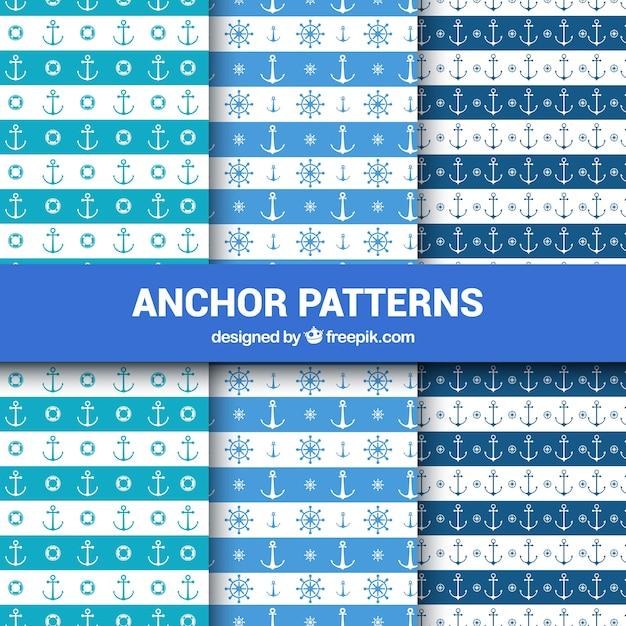 Conjunto de padrões de âncora Vetor grátis