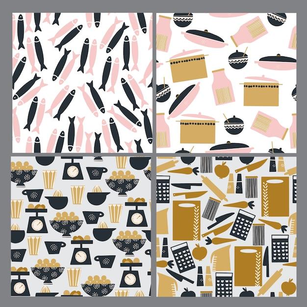 Conjunto de padrões de cozinha sem costura mão desenhada Vetor Premium
