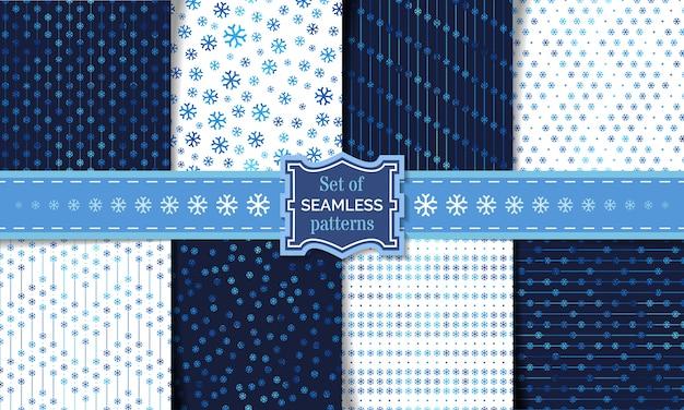 Conjunto de padrões de floco de neve sem emenda. modelos de inverno claro e escuro. fundos ilimitados. Vetor Premium