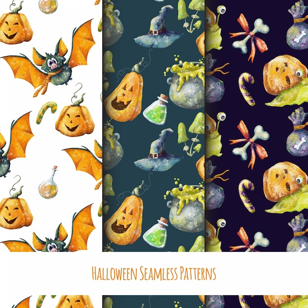 Conjunto de padrões de giros sem costura halloween Vetor Premium