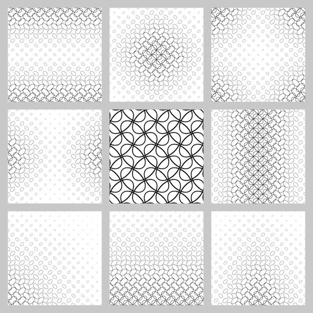 Conjunto de padrões de grade de elipse em preto e branco Vetor grátis