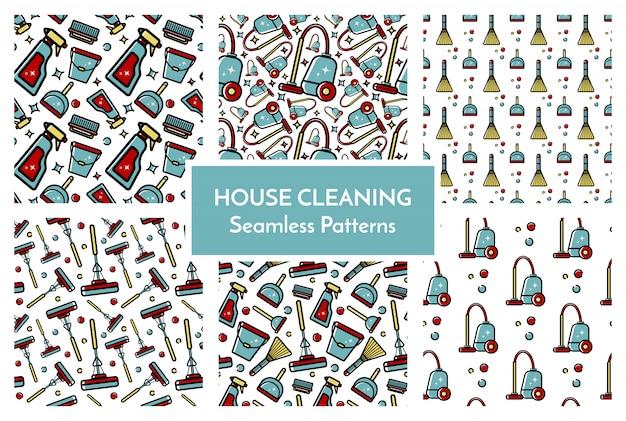 Conjunto de padrões de limpeza da casa Vetor Premium