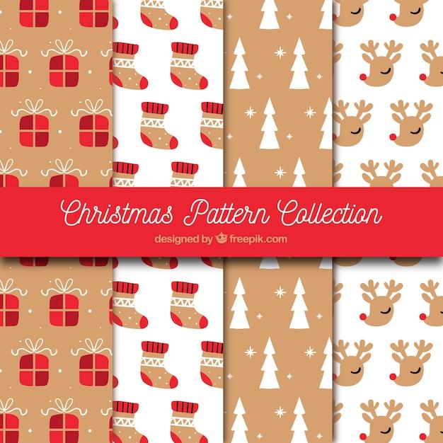 Conjunto de padrões de natal desenhados à mão vintage Vetor grátis