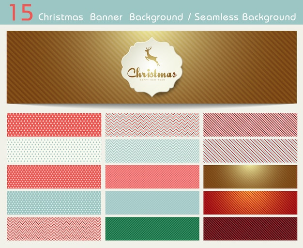 Conjunto de padrões de natal e fundo transparente. eps10 de ilustração Vetor Premium