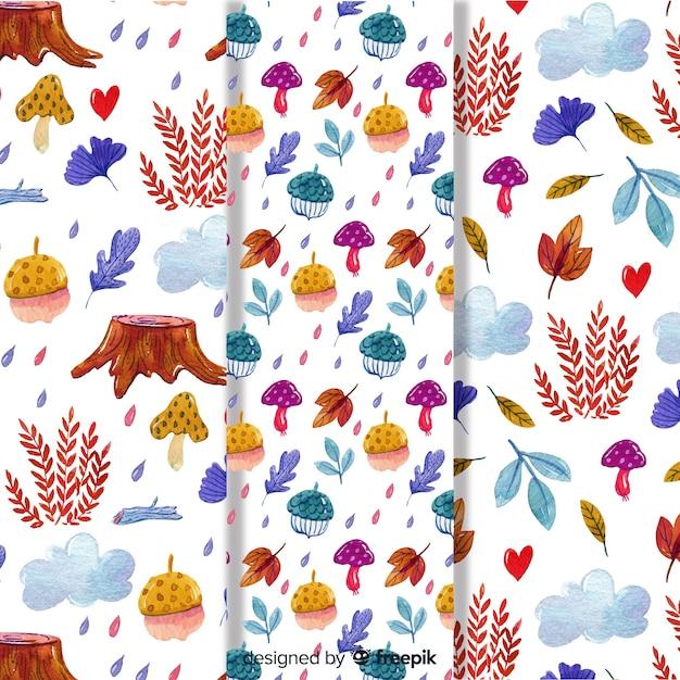 Conjunto de padrões de outono em aquarela Vetor grátis