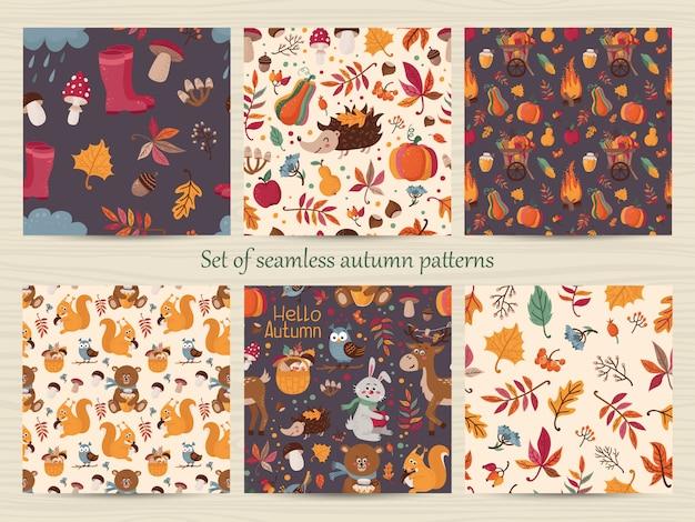 Conjunto de padrões de outono sem costura Vetor Premium