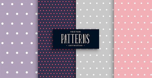 Conjunto de padrões de pontos bonitos polks de quatro Vetor grátis