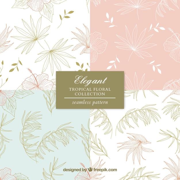 Conjunto de padrões de verão com elementos de praia na mão desenhada estilo Vetor grátis