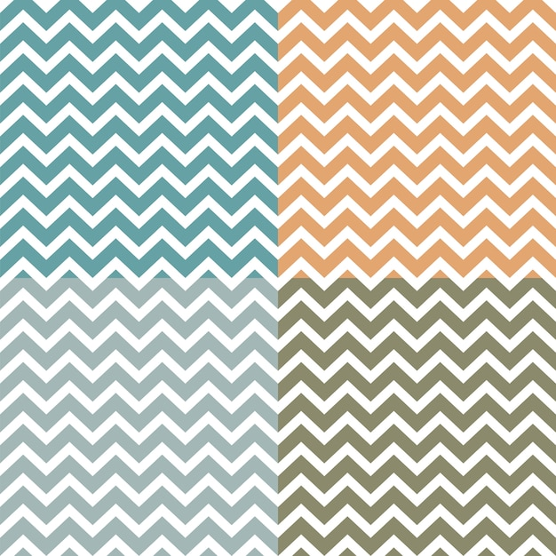 Conjunto de padrões de ziguezague sem costura (chevron) Vetor Premium