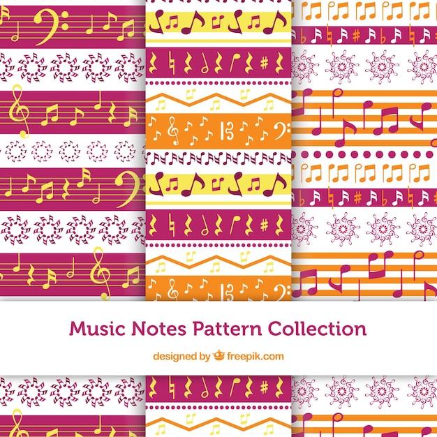 Conjunto de padr es decorativos com notas musicais for Conjunto de espejos decorativos