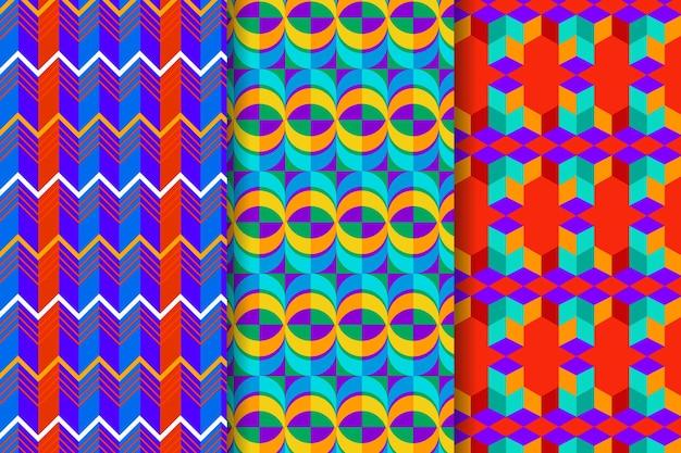 Conjunto de padrões desenhados geométricos coloridos Vetor Premium