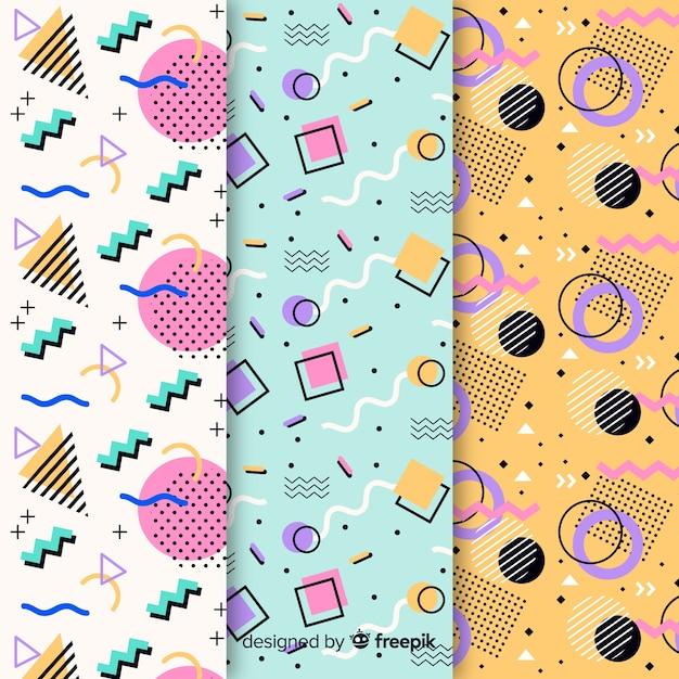 Conjunto de padrões diferentes de memphis Vetor grátis