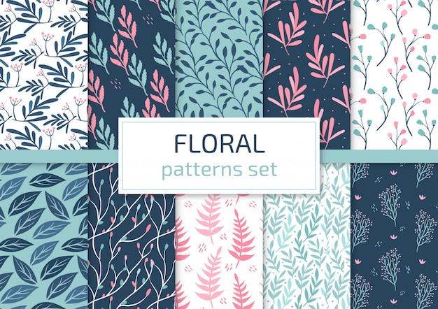 Conjunto de padrões florais Vetor Premium