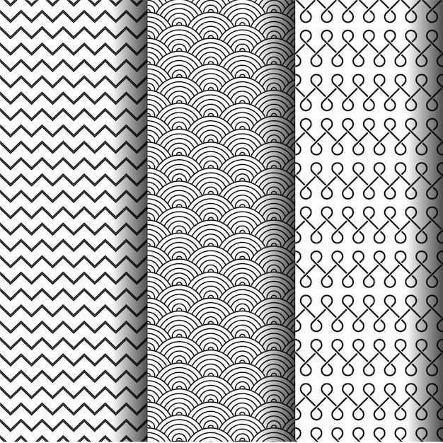 Conjunto de padrões geométricos abstratos, texturas ou fundo sem costura preto e branco. Vetor grátis