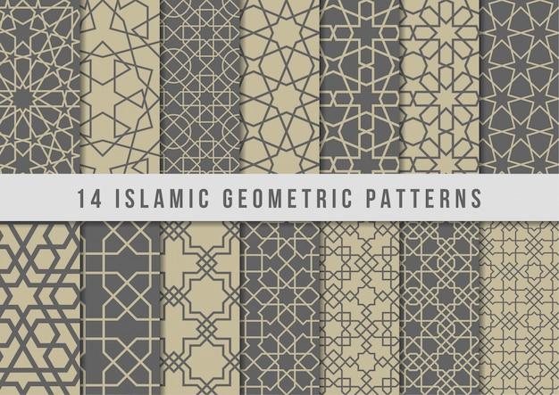 Conjunto de padrões geométricos islâmicos Vetor Premium