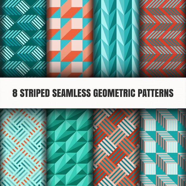 Conjunto de padrões geométricos sem costura listrados Vetor grátis
