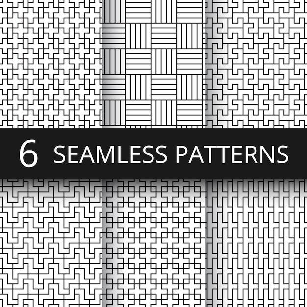Conjunto de padrões geométricos sem emenda do vetor. linha moderna repetir gráficos com formas geométricas simples Vetor Premium