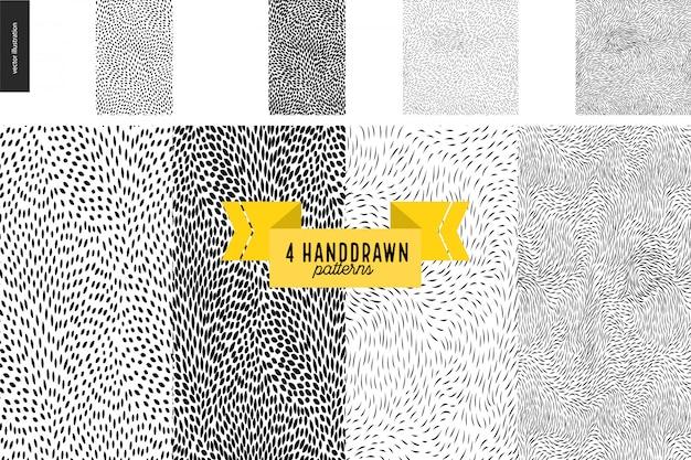 Conjunto de padrões handdrawn preto e branco Vetor Premium