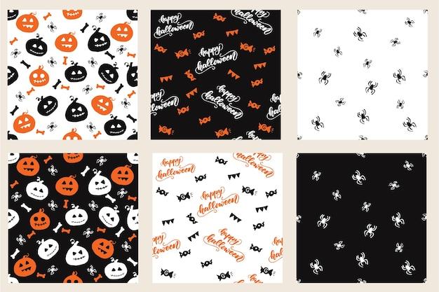 Conjunto de padrões sem costura com desenhos de halloween. ilustração do vetor. Vetor Premium