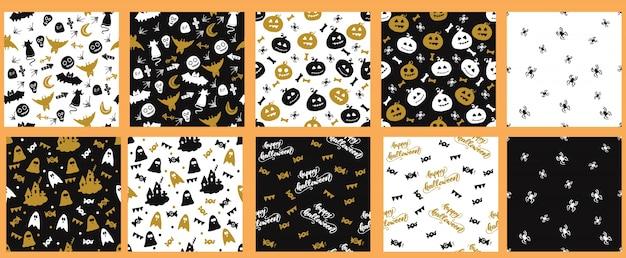 Conjunto de padrões sem costura com halloween design. ilustração do vetor. Vetor Premium