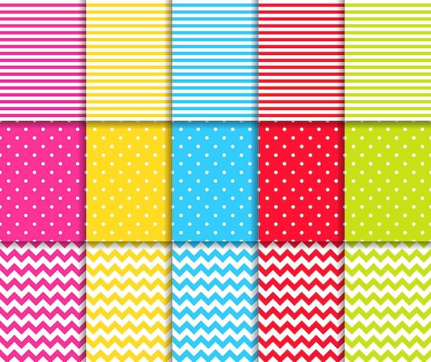 Conjunto de padrões sem costura pontilhada e listrada colorida Vetor Premium