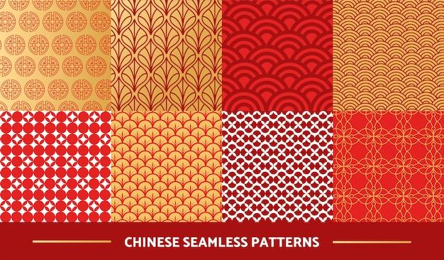 Conjunto de padrões sem emenda chineses Vetor Premium