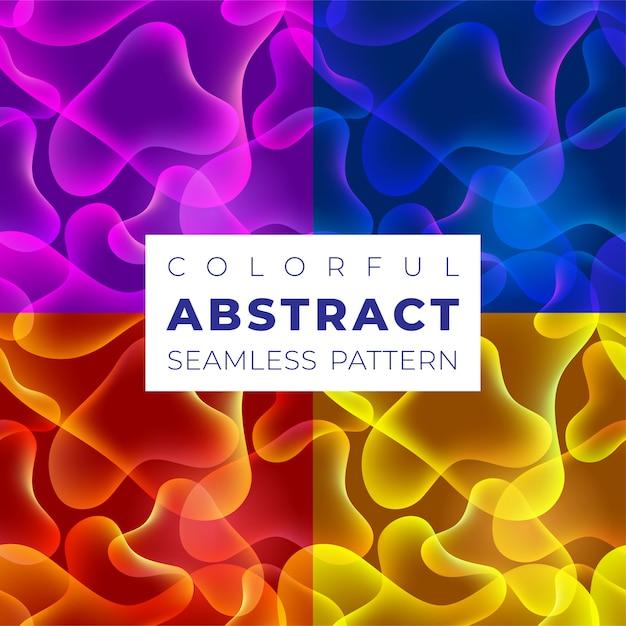 Conjunto de padrões sem emenda coloridos. cores brilhantes e gradientes com formas fluidas abstratas. padrão para plano de fundo, papéis de parede, web e impressão. Vetor Premium