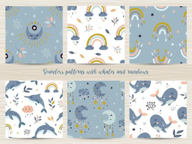 Conjunto de padrões sem emenda com baleias e arco-íris. ilustração para papel de embrulho e scrapbooking Vetor Premium