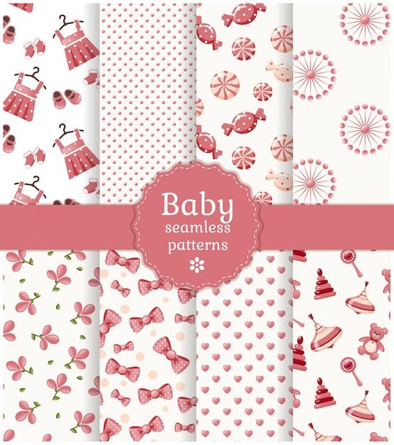 Conjunto de padrões sem emenda de bebê. Vetor Premium