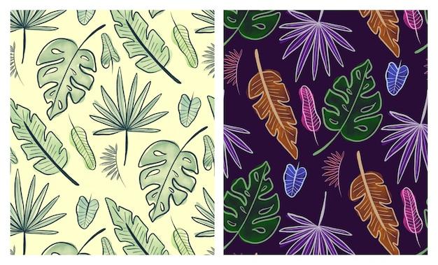 Conjunto de padrões sem emenda de folhas tropicais em aquarela Vetor Premium