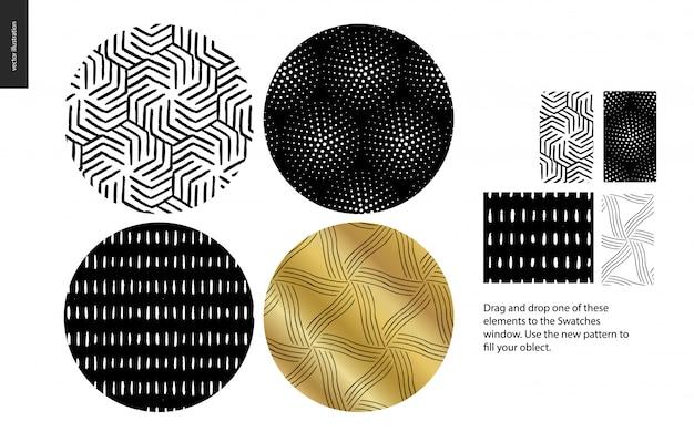 Conjunto de padrões sem emenda de mão desenhada Vetor Premium