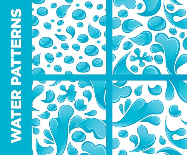 Conjunto de padrões sem emenda de vetor de gotas e respingos de água Vetor Premium